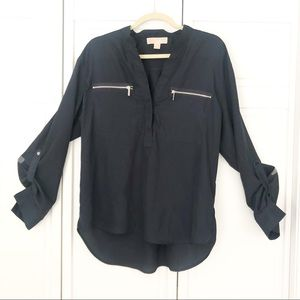 Michael Kors long sleeved navy blouse. Size L